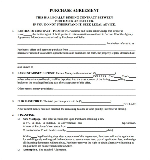 Sample Real Estate Purchase Agreement Template - 14+ Free Documents