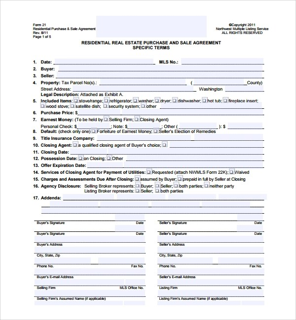 Sample Real Estate Purchase Agreement Template   8+ Free Documents   Home Purchase  Agreement Form