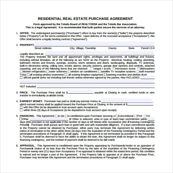 Purchase Contract Sample Pdf – Real Estate Purchase Agreement Template Free