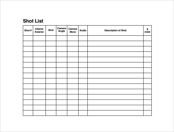 9+ Shot List Templates - PDF, Word, Excel