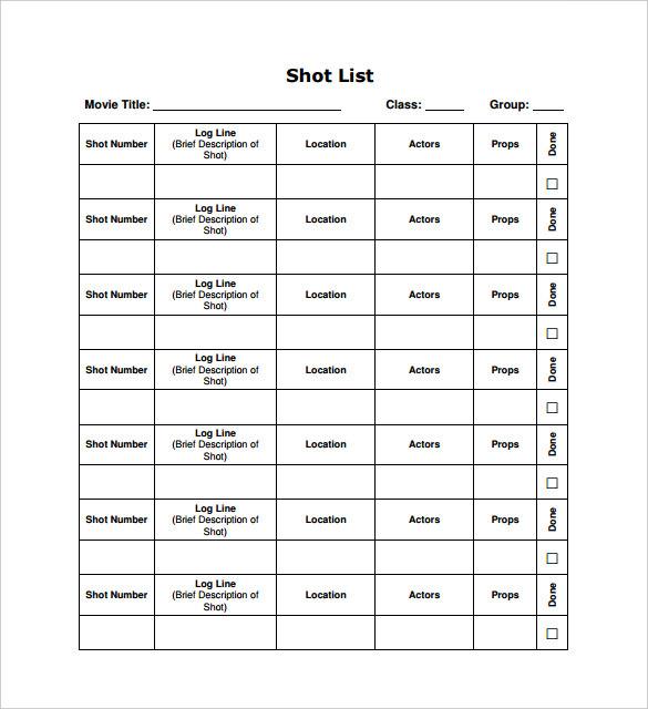 9+ Shot List Templates - PDF, Word, Excel