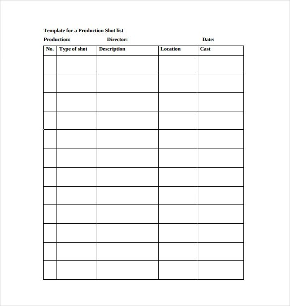 9+ Shot List Templates \u2013 PDF, Word, Excel Sample Templates - Shot List Template