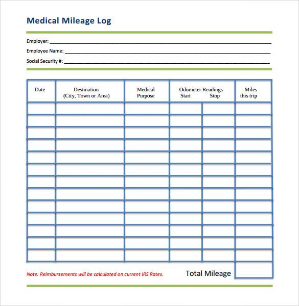 mileage tracking sheet