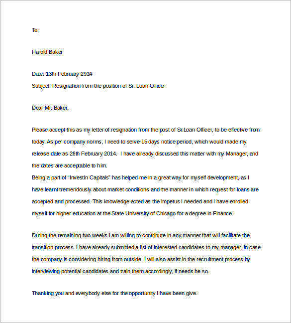 15+ Sample Two Weeks Notice Letters in Doc Sample Templates