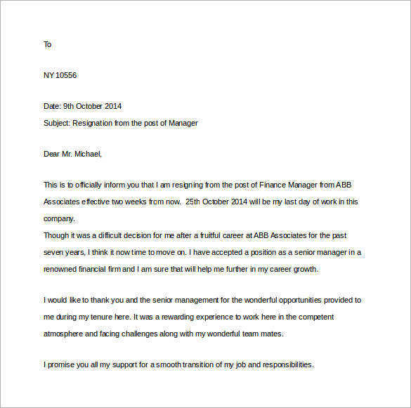 15+ Sample Two Weeks Notice Letters in Doc