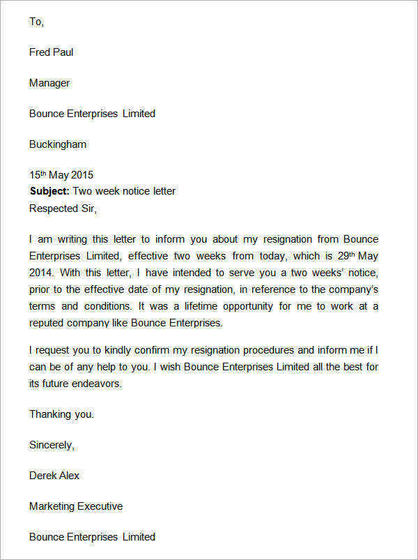 Two Weeks Notice Letter - 12+ Download Free Documents in Word - 2 week notice letters