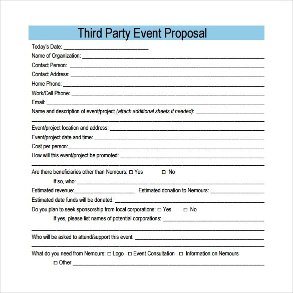 25+ Sample Event Proposal Templates \u2013 PSD, PDF, Word, Apple Pages - party proposal