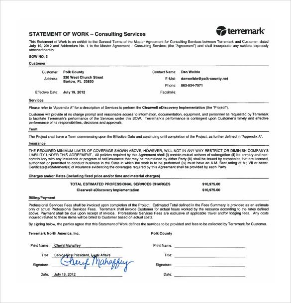 sample statement of work template - Kordurmoorddiner