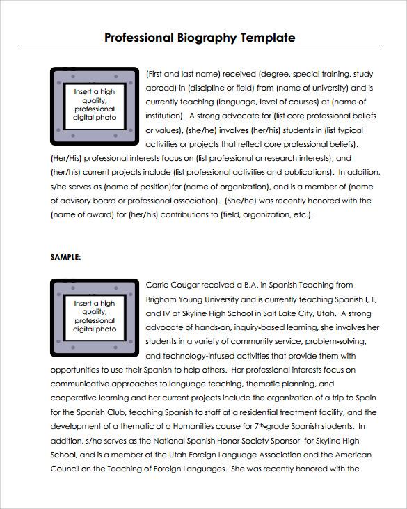 7+ Biography Samples \u2013 PDF Sample Templates