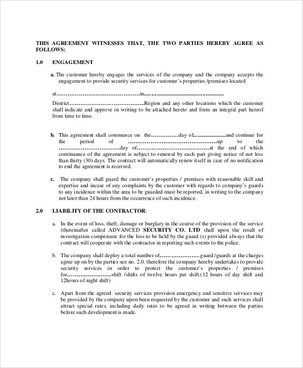 Sample Contract Agreement - 52+ Free Documents Download in PDF, Word - agreement between two parties template