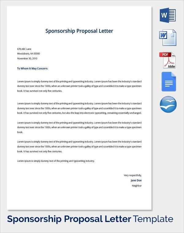 Sample Sponsorship Proposal Template - 19+ Documents in PDF, Word