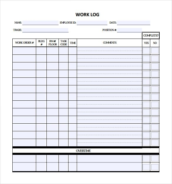 daily journal log template - daily log templates word