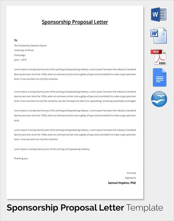 19+ Sample Sponsorship Proposal Templates Sample Templates - how to write a sponsorship letter template