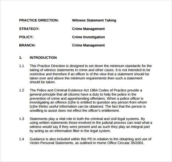 13 Sample Witness Statement Templates to Download Sample Templates - sample witness statement