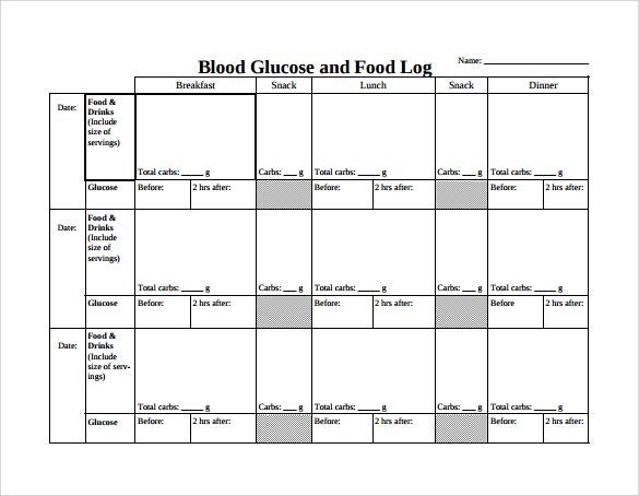 printable glucose chart