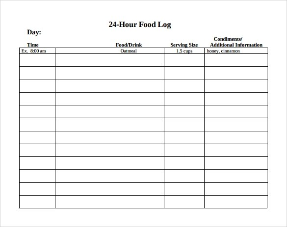 daily food log template word - weekly food chart template