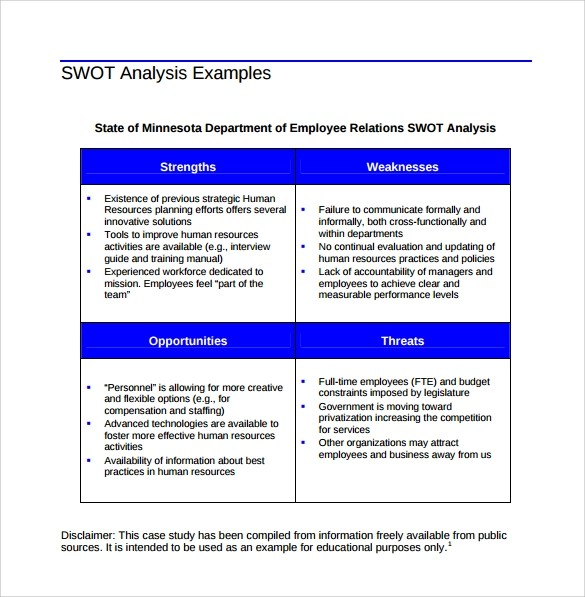 personal swot analysis template pdf - analysis templates