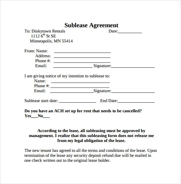 23 Sample Free Sublease Agreement Templates to Download Sample - lease forms free print