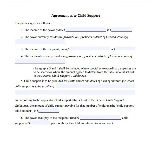 10+ Sample Child Support Agreement Templates \u2013 PDF Sample Templates - sample child support agreement