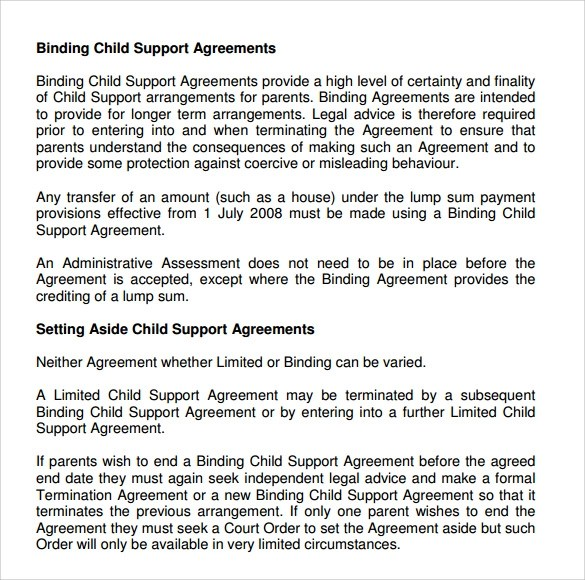 10 Sample Child Support Agreement Templates to Download Sample - sample child support agreement