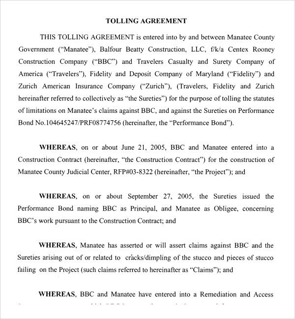 6 Sample Free Tolling Agreement Templates Sample Templates