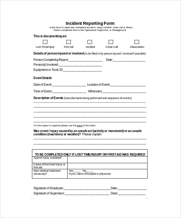 free police incident report template