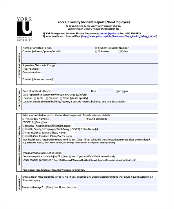 student incident report sample