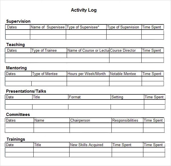 Activity Log Sample - 5+ Documents in PDF, Word, Excel - time log sample