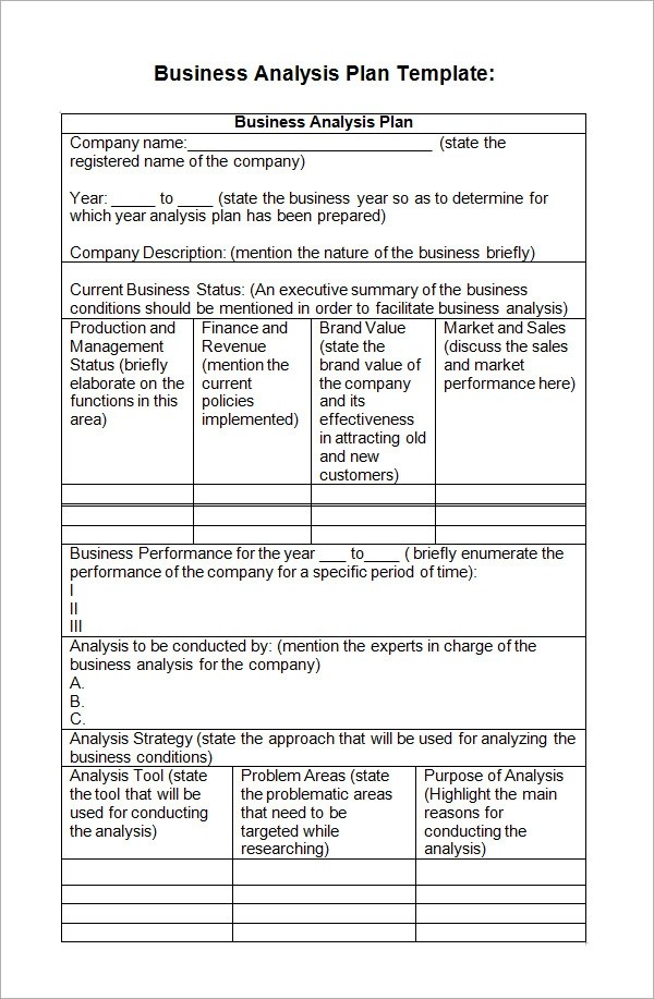 business analysis template - 28 images - free business analysis work - analysis templates