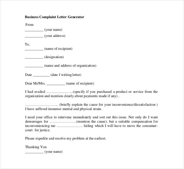 Business Letters Format - 28+ Download Free Documents in PDF, Word - business complaint letter format