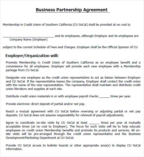 Business Partnership Agreement Sample Free – Business Partnership Contract