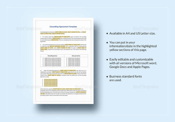 10 Sample Free Consulting Agreement Templates Sample Templates - consulting agreement sample in word
