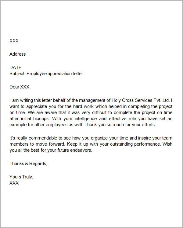 sample appreciation letter to employee for good work appreciation letter to employee for good performance appreciation