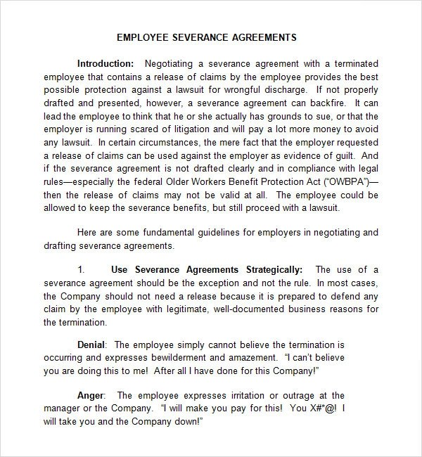 Sample Severance Agreements - employee termination guide