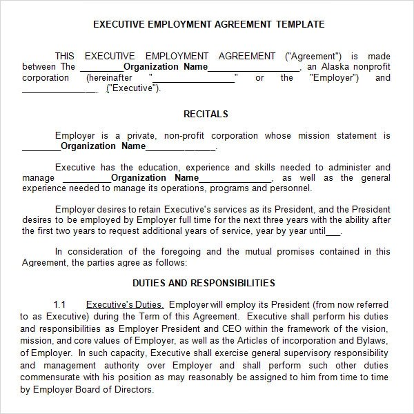 Executive Agreement - 10+ Download Free Documents in PDF, Word