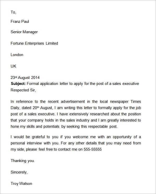 formal application letter - 28 images - 6 formal job application - application letters