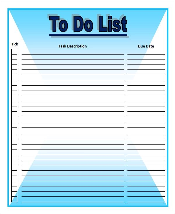 word templates to do list