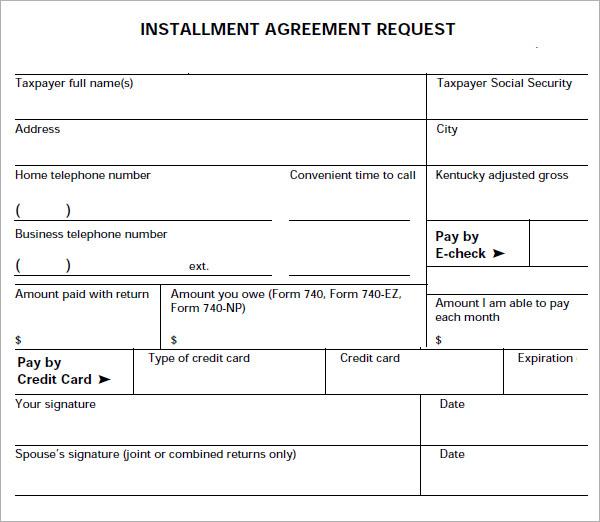 installment agreement template