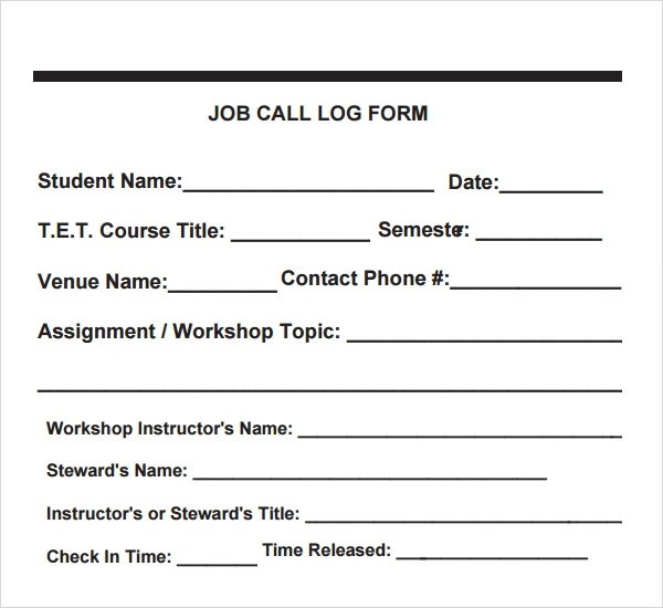 11+ Sample Call Log Templates Sample Templates - contact log template