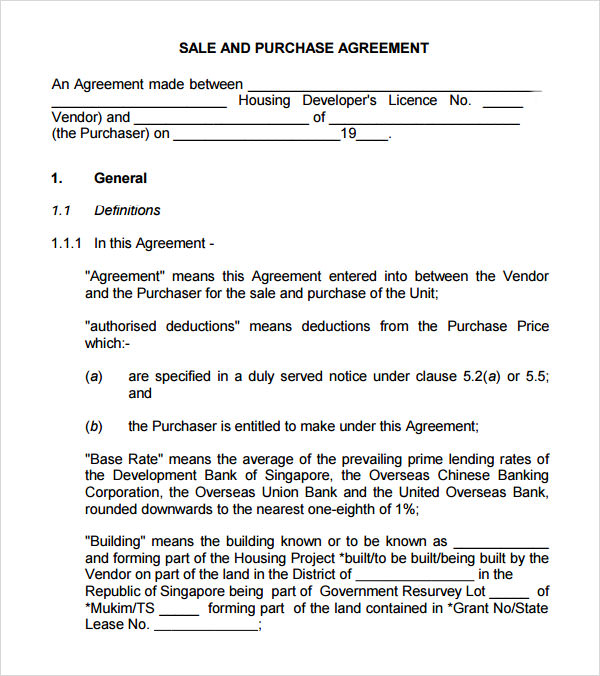 Sample Buy Sell Agreement - 7+ Free Documents in PDF, Word - sample purchase and sale agreement template