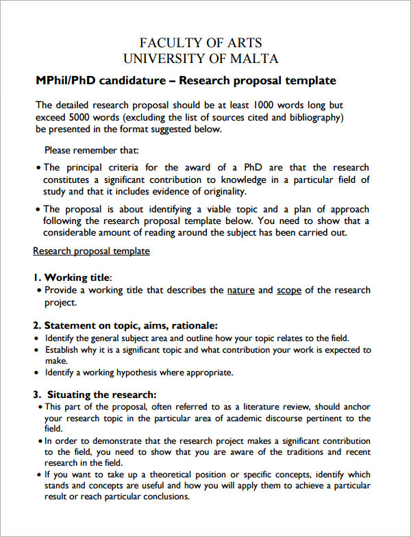 Sample Proposal Resource I Sample Research Proposal Template 5 Free Documents