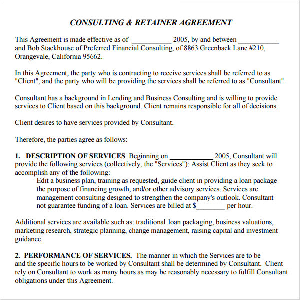 10 Free Sample Retainer Agreement Templates Sample Templates