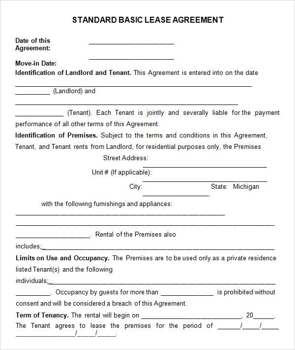 8 Useful Sample Leasing Agreement Templates Sample Templates - free standard lease agreement