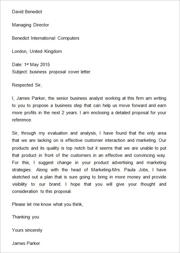 31+ Sample Business Proposal Letters \u2013 PDF, DOC Sample Templates - letter of proposal