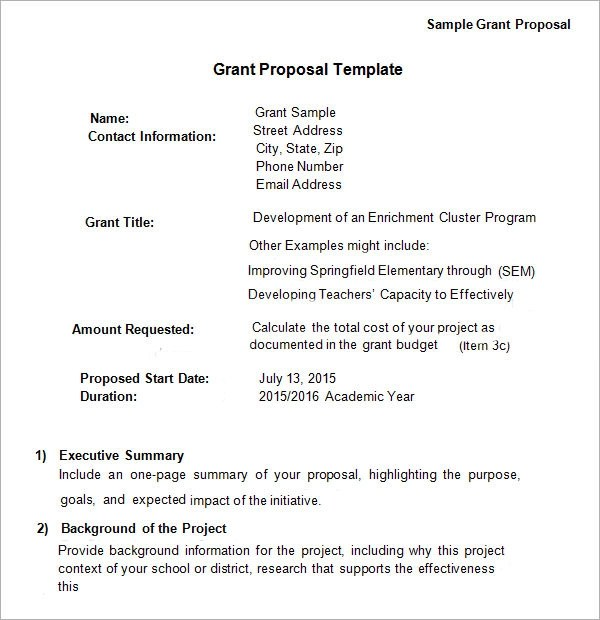 Grant Proposal Template Word - FREE DOWNLOAD