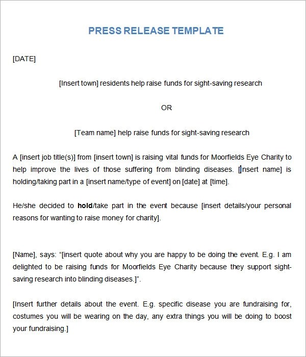 8+ Press Release Templates Sample Templates