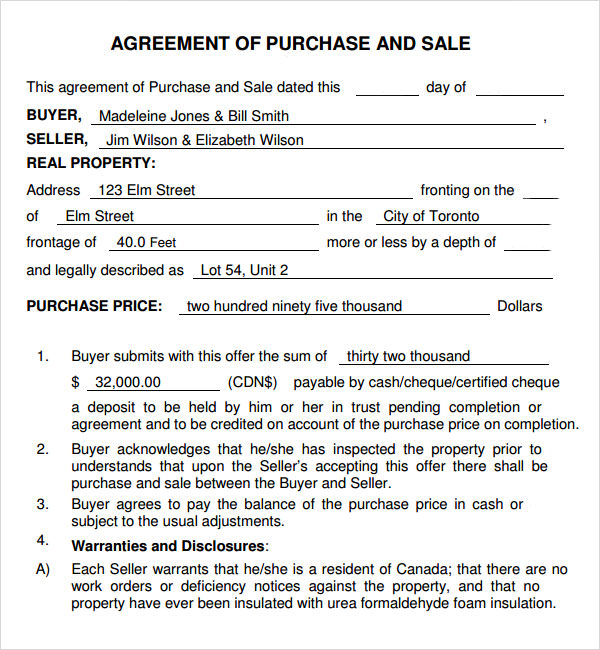 Sample Sale Agreement For House – Sample Sale Order Template