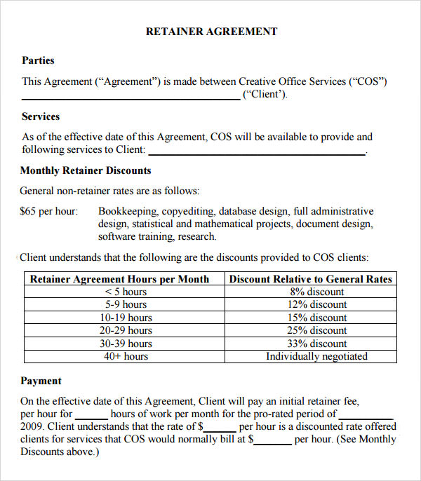 Sample Contract Agreement Sample Templates Retainer Agreement 9 Download Free Documents In Pdf