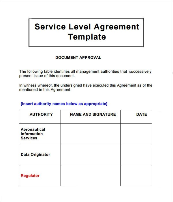 Business Service Level Agreement Sample Sla Agreement Sample Sla