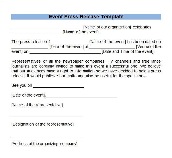 8+ Press Release Templates Sample Templates